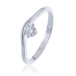 Special white gold engagement ring with a side diamond